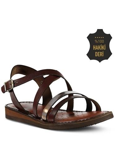 Marjin %100 Deri Sandalet Altın